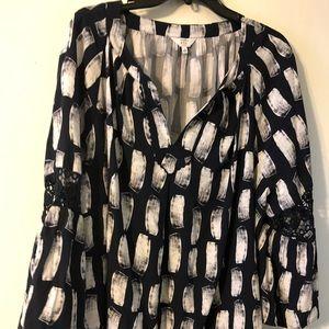 NWT Crown & Ivy peasant blouse 3X. Gorgeous!!